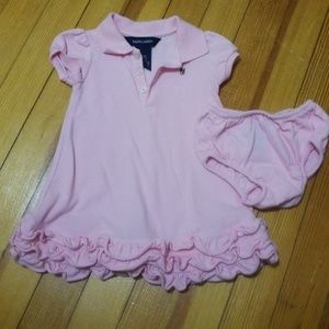 Ralph Lauren baby girls pink dress with panties